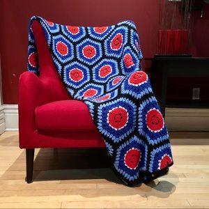 Vintage large crocheted afghan blanket grandmacore